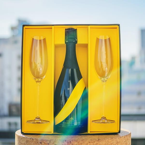 MIKADO LEMON / Sparkling lemon sake シャンパングラスセット