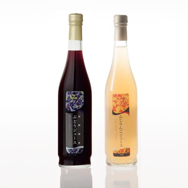 長野県産果実100%ストレートジュース2本セット(巨峰・りんご)