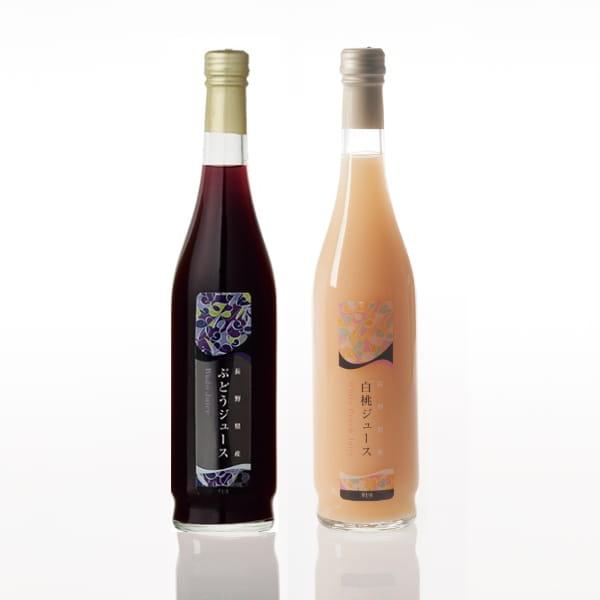 長野県産果実100%ストレートジュース2本セット(巨峰・白桃)