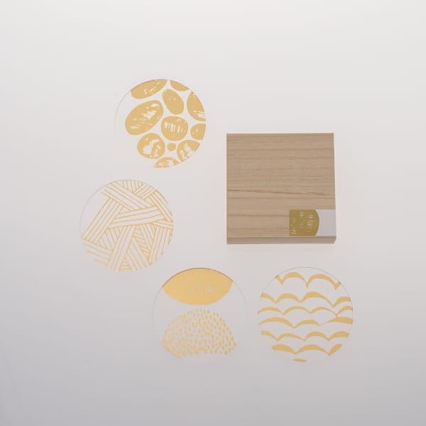 toumei / 箔coaster 木箱入り4枚セット ろ
