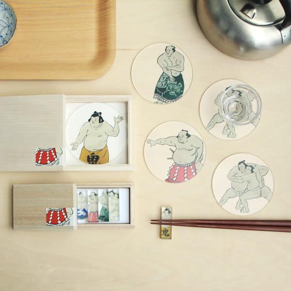 toumei / 関取 coaster 木箱入り4枚セット