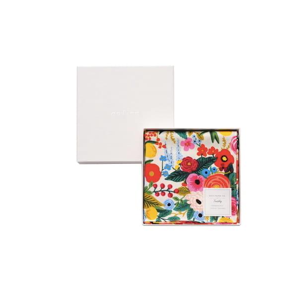 Rifle Paper / ガーデンパーティ・ホワイト ハンカチクロス BOX入