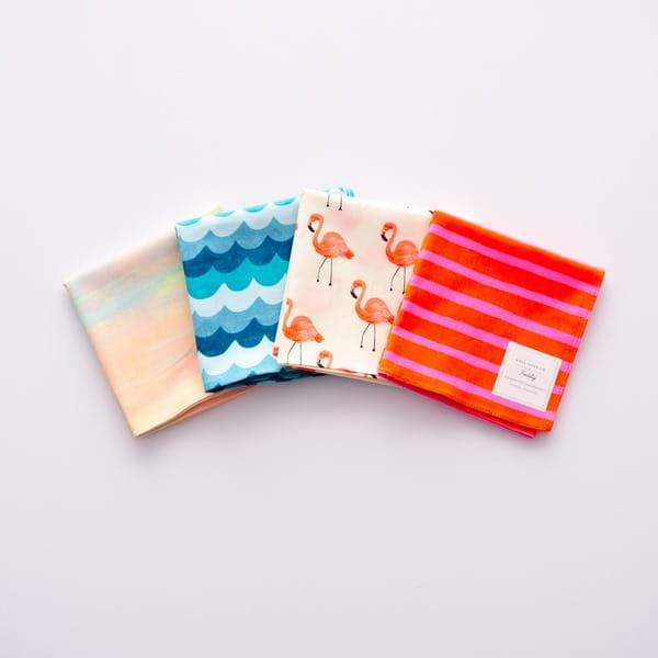 Rifle Paper / フラミンゴ(綿・ローン) ハンカチクロス BOX入