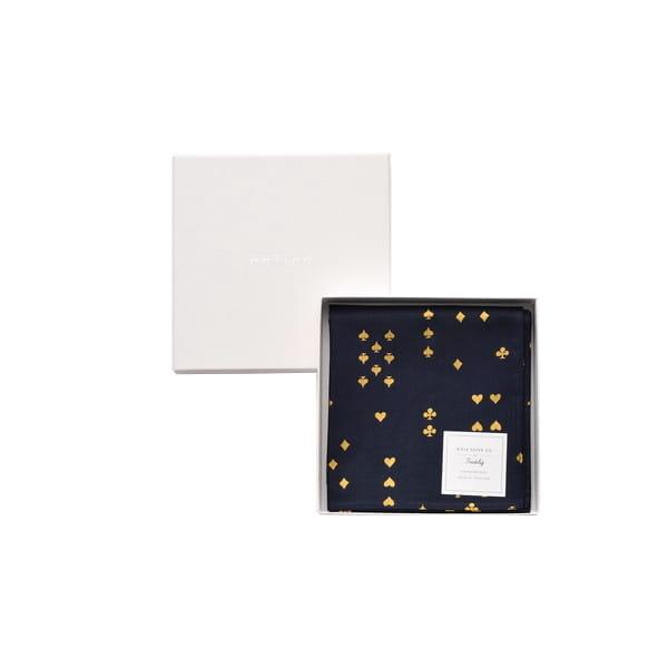 Rifle Paper / トランプゴールド(ネイビーブラック) ハンカチクロス ※金箔特殊加工BOX入