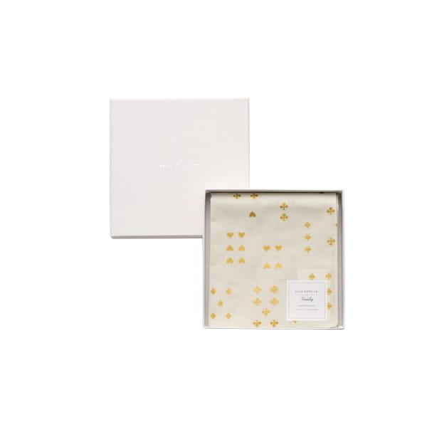 Rifle Paper / トランプゴールド(ホワイト)※金箔特殊加工 ハンカチクロス BOX入