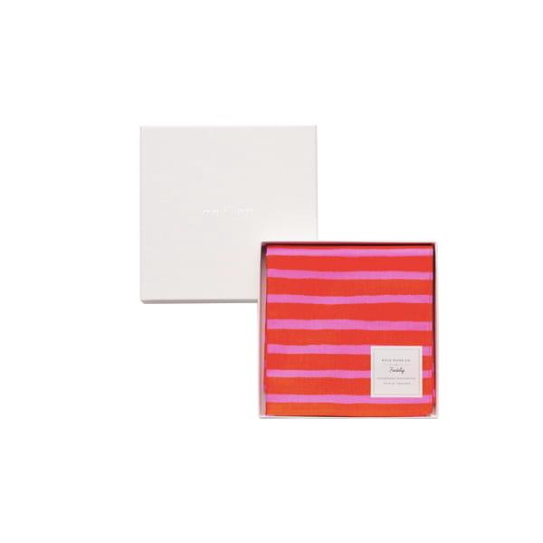 Rifle Paper / ハンドストライプ(ピンク) ハンカチクロス BOX入