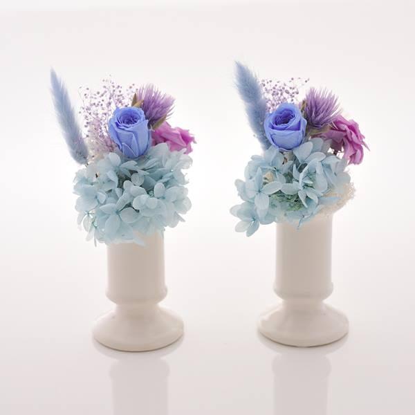 antina×アトリエみちくさ / プリザーブドフラワーお供花ブルー系 1組(M)