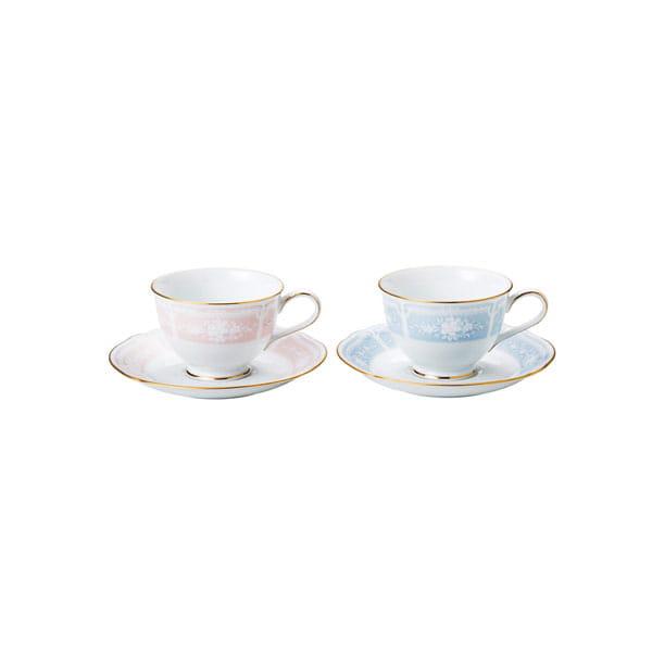 Noritake / レースウッドゴールド ティー・コーヒー碗皿ペアセット(ブルー・ピンク)