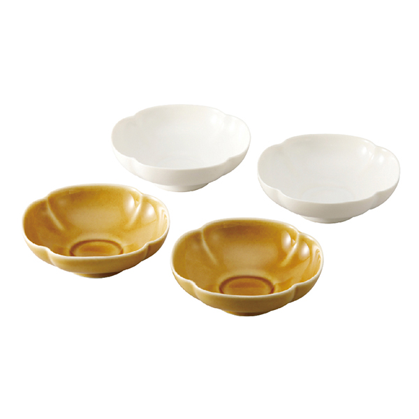瑞々 木瓜鉢3.5寸4個組(うす飴/にび白)