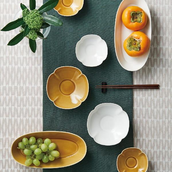 瑞々 楕円鉢8寸ペア(うす飴/にび白)