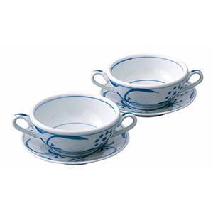 砥部焼 呉須太陽 ペアスープ碗皿