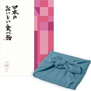 <風呂敷包み> 日本のおいしい食べ物 <蓮(はす)+風呂敷(色のきれいなちりめん あじさい)>