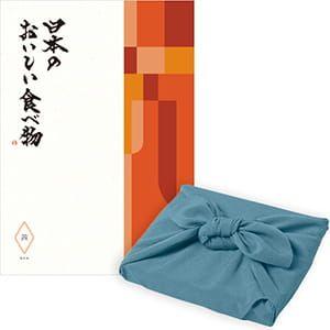<風呂敷包み> 日本のおいしい食べ物 <茜(あかね)+風呂敷(色のきれいなちりめん あじさい)>