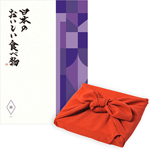 <風呂敷包み> 日本のおいしい食べ物 <藤(ふじ)+風呂敷(色のきれいなちりめん りんご)>