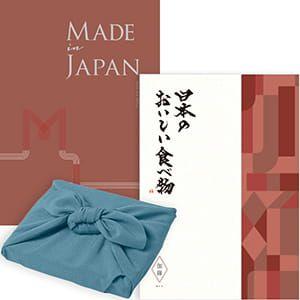 <風呂敷包み> Made In Japan(メイドインジャパン) with 日本のおいしい食べ物 <MJ26+伽羅(きゃら)+風呂敷(色のきれいなちりめん あじさい)> 2冊より選べます