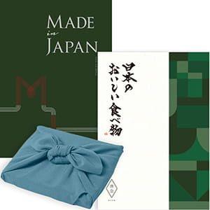 <風呂敷包み> Made In Japan(メイドインジャパン) with 日本のおいしい食べ物 <MJ29+唐金(からかね)+風呂敷(色のきれいなちりめん あじさい)> 2冊より選べます