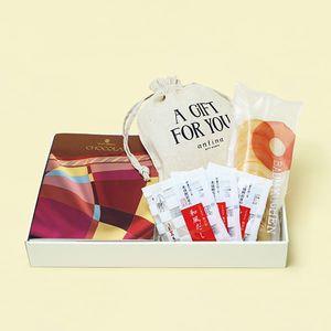 カタログギフト VENTOUEST<ショコラ>+和風だし+バウムクーヘン+オリジナル巾着 ※5個以上でご注文ください