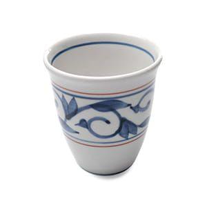 貞山窯 / 砥部焼 フリーカップ 唐草(赤)