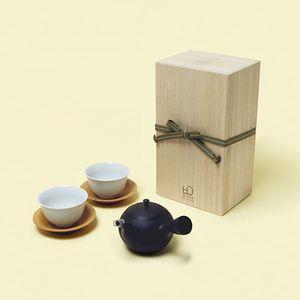 WDH / 急須、湯呑(丸形・黒/2個セット)