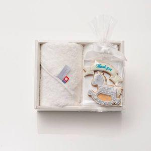 アイシングクッキー 木馬(ブルー) (Thankyou)+タオルセット(ハンド2)