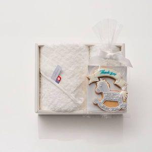 アイシングクッキー 木馬(ブルー) (Thankyou)+タオルセット(ハンド1/フェイス1)