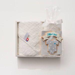 アイシングクッキー ロンパース(ブルー) (Thankyou)+タオルセット(ハンド1/フェイス1)