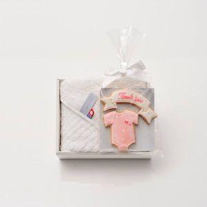 アイシングクッキー ロンパース(ピンク) (Thankyou)+タオルセット(ハンド1)