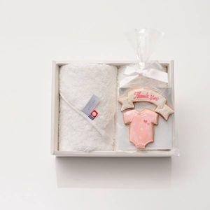 アイシングクッキー ロンパース(ピンク) (Thankyou)+タオルセット(ハンド2)