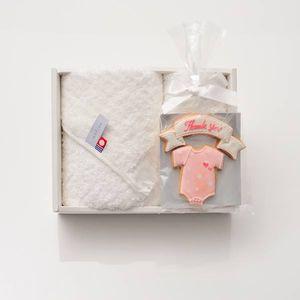 アイシングクッキー ロンパース(ピンク) (Thankyou)+タオルセット(ハンド1/フェイス1)
